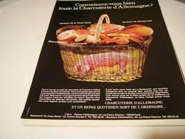 ANCIENNE AFFICHE  PUBLICITE CONNAISSEZ VOUSCHARCUTERIE D ALLEMAGNE 1979 - Manifesti