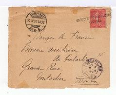 Sur Enveloppe Type Semeuse 10 C. Oblitération Gare Des Hôpitaux. Cachet AmbulantSuisse  N° 6. 1907. (600) - Marcophilie (Lettres)