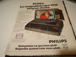 ANCIENNE PUBLICITE MAGNETOSCOPE PHILIPS 1979 - Music & Instruments