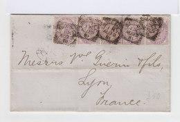 Sur Lettre 5 Exemplaires Du Type 1 Penny Violet 1881. 14 Perles. Oblitération London 1881. (601) - Marcophilie