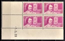 FRANCE 1939 - BLOC DE 4 TP NEUF** Y.T. N° 438 - COIN DE FEUILLE / DATE - 1930-1939