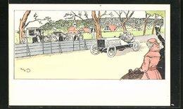 CPA Illustrateur Sign. H. Eliott: Menschen Jubeln Dem Rennfahrer In Seinem Auto Zu - Passenger Cars