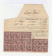 Sur Lettre Taxée 21 Exemplaires Timbre Taxe 50 Centimes. Surchargés 20 Centimes En Français Et Chinois. 1919. (602) - 1859-1955 Oblitérés