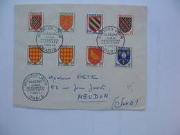 Enveloppe Premier Jour  Cachet     1954  Paris  Blasons Aunis Angoumois Saintonge - FDC