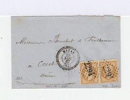 Sur Enveloppe Paire De Napoléon III 10 C. Bistres. Cachet à Date Cercle Pointillé Mazan. 1867. (604) - Marcophilie (Lettres)