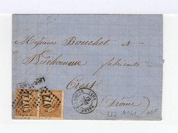 Sur Lettre Paire De Napoléon III 10 C. Bistres. Cachet à Date Valence Sur Rhône. 1867. (605) - Postmark Collection (Covers)
