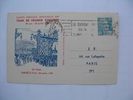 Carte 1949 Carte Postale Officielle Du Tour De France Cycliste  30 Juin - 24 Juillet 1949 - Cyclisme