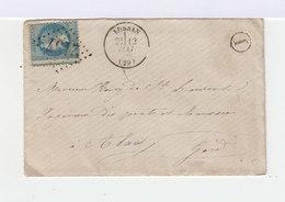 Sur Enveloppe Napoléon III Lauré 20 C. Bleu, Variété Piquage à Cheval. Oblitération Losange. (606) - Marcophilie (Lettres)