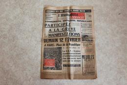 L'HUMANITE DIMANCHE 11 FEV 1962 Manifestation Du 12 Fevrier - Journaux - Quotidiens