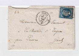 Sur Enveloppe Napoléon III 20 C. Bleu. Oblitération Losange Grands Chiffres. (607) - Marcophilie (Lettres)