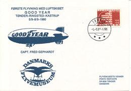 Denmark Flight Cover First Flight Airship GOOD YEAR Tönder-Ringsted-Kastrup 5/9-8/9-1980 Capt. Fred Gephardt With Cachet - Dänemark