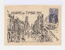 Carte Journée Du Timbre 1951. Soissons.Illustration Arrivée De La Malle Poste En 1849. (608) - FDC