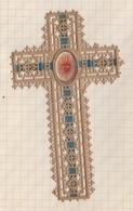 8AK2346 Image Religieuse Pieuse CROIX MARQUE PAGE DECOUIS PAPIER ET RUBAN - Images Religieuses