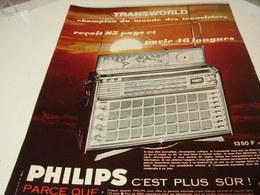 ANCIENNE PUBLICITE RADIO TRANSWORLD  1965 - Musique & Instruments