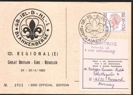 J) 2000 BELGIUM, 12TH REGIONAL GREAT BRITAIN, EIRE, BENELUX, CIRCULAR CANCELLATION, SCOUT EMBLEM, CIRCULATED COVER, FOM - Belgium