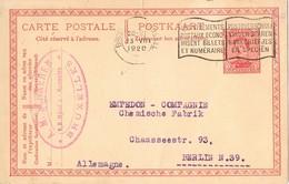 29694. Entero Postal BRUXELLES (Belgien) 1920 To Berlin - AK [1909-34]