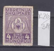 26K319 / Mbretnija Shqiptare - Takse MONOPOLI - 4 QIND, Revenue Fiscaux Steuermarken Fiscal Albania Albanie - Albania