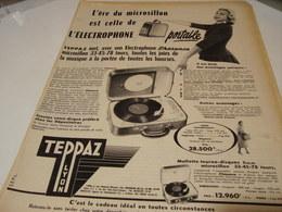 ANCIENNE PUBLICITE ELECTROPHONE PRESENCE DE TEPPAZ  1955 - Musique & Instruments