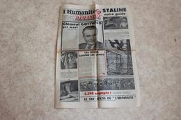L'HUMANITE DIMANCHE --du 15 MARS 1953 STALINE Notre Guide-CLEMENT GOTTWALD Est Mort - Journaux - Quotidiens
