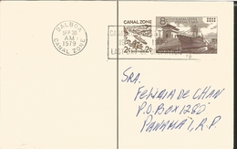 J) 1979 PANAMA, CANAL ZONE, RAYLWAY, BOAT,WITH SLOGAN CANCELLATION, CIRCULATED COVER, INTERIOR MAIL WITHIN TO CANAL ZONE - Panama