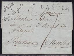 Corse, 19/Bastia (43x13) Sur LSC Non Datée - Marque Prefet/dept Du Golo Pour Poste Restante En Italie - Marcophilie (Lettres)