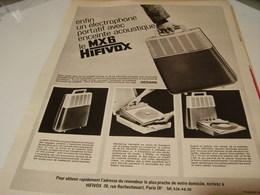ANCIENNE PUBLICITE ELECTROPHONE VALISE LE MX6 HIFIVOX 1965 - Musique & Instruments