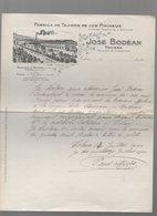 Tolosa (Espagne)  Lettre à Entête JOSE BODEAN Tojidos De Los Pirineos 1904 (PPP14543) - Spain