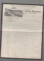 Tolosa (Espagne)  Lettre à Entête JOSE BODEAN Tojidos De Los Pirineos 1909 (entourage Noir )(PPP14543) - Spagna