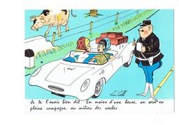 Cpm Illustrateur René Caille - Gendarme Contravention Excès De Vitesse Pin'up Voiture Décapotable Vache Au Pré Borne - Andere Zeichner