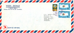 Turkey Air Mail Cover Sent To Denmark 1983 With MAP Stamps - 1921-... Republic