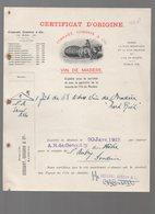 Madère (Portugal) Certificat D'origine -connaissement  COSSART GORDON ET CO Vin De Madère  1912 (PPP14546) - Portugal