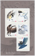 2018 = Birds Of Canada = SNOWY OWL = CRANE = CHICKADEE = JAY = CANADA GOOSE = LEFT BOOKLET PAGE Of 5 Stamps W Special TH - Arends & Roofvogels