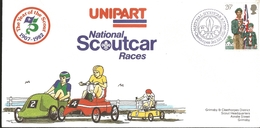 J) 1982 GREAT BRITAIN, NATIONAL SCOUTHCAR RACES, THE YEAR OF THE SCOUT, CIRCULAR CANCELLATION, SCOUT EMBLEM, BOY SCOUT, - Covers & Documents