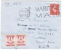 1947 Canal Zone 2 X 1 Cent Portomarken Auf Schiffsbrief Mit Britischer 1 1/2 Pence Marke, Ankunftstempel  Cristobal - Panama