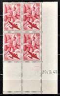 FRANCE  1936 / 1947 - BLOC DE 4 TP Y.T. N° 17 - COIN DE FEUILLE NEUFS**.. - Coins Datés