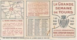 TOURS , Indre Et Loire - Calendrier 1927 - Grande Semaine De Tours - Kalender