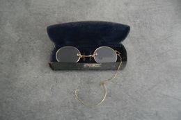 ANCIEN PINCE NEZ LUNETTE BINOCLE DANS SON ETUI - EN BON ETAT - - Brillen