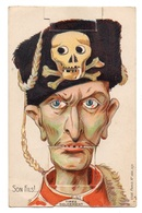 "0275 ""SON FILS - SOUVENIR DU CAMP D'AVORA 27/10/1918"" CARTOLINA ANIMATA ORIGINALE - Humour"