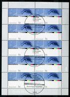 """Germany,Allemagne 2002 Kleinbogen/Zehnerbogen Mi.Nr.2288""""50 Jahre Deutsches Fernsehen,Televison""""mit ESST""""1 Bogen Used - Physique"""