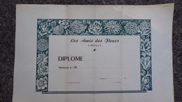 87- LIMOGES- RARE  DIPLOME VIERGE LES AMIS DES FLEURS -IMPRIMERIE COUTY & COMBROUZE - Diploma & School Reports