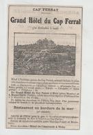 Publicité 1922 Cap Ferrat Grand Hôtel - Publicités