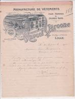 59-M.Véroone  Manufacture De Vêtements  ......Lille  (Nord) 1900 - Textile & Vestimentaire