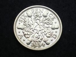 SIX PENCE ARGENT GRANDE BRETAGNE GEORGES V  1934  ( Lot Plrg3/15 ) - 1902-1971 : Monnaies Post-Victoriennes