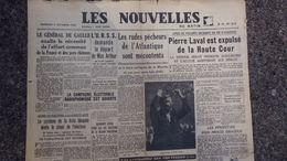 JOURNAL LES NOUVELLES DU MATIN-5 OCTOBRE 1945-GUERRE -PIERRE LAVAL EXPULSE DE LA COUR-GENERAL DE GAULLE-JACQUINOT- SFIO - Newspapers