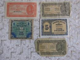 5 Billets Divers Militaria Débutants & Confirmés Jugoslavia, Le 5 Francs Maroc 1944 SPL & Deutschland. - Monnaies & Billets