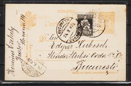 C.P.FERDINAND  Circulata 1925 Cu Obliterare BUCURESTI - Cartas De La Primera Guerra Mundial