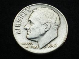 ONE DIME  ARGENT ETATS-UNIS ROOSEVELT  1947   ( Lot Plrg3/34 ) - Émissions Fédérales