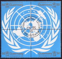 GUERNSEY 1995 SG 682-85 Compl.set In A Block Of Four Used 50th Anniv Of United Nations - Guernsey