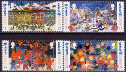 GUERNSEY 1995 SG 686-93 Compl.set In Four Horiz.pairs Used Christmas. UNICEF - Guernsey