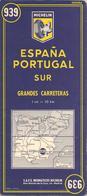 CARTE-ROUTIERE-MICHELIN-N °939-1960--ESPAGNE-PORTUGA L-SUD-TB E- - Cartes Routières